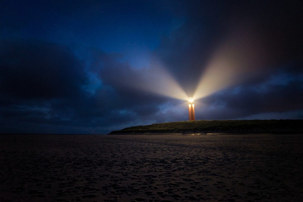 night, clouds, lighthouse